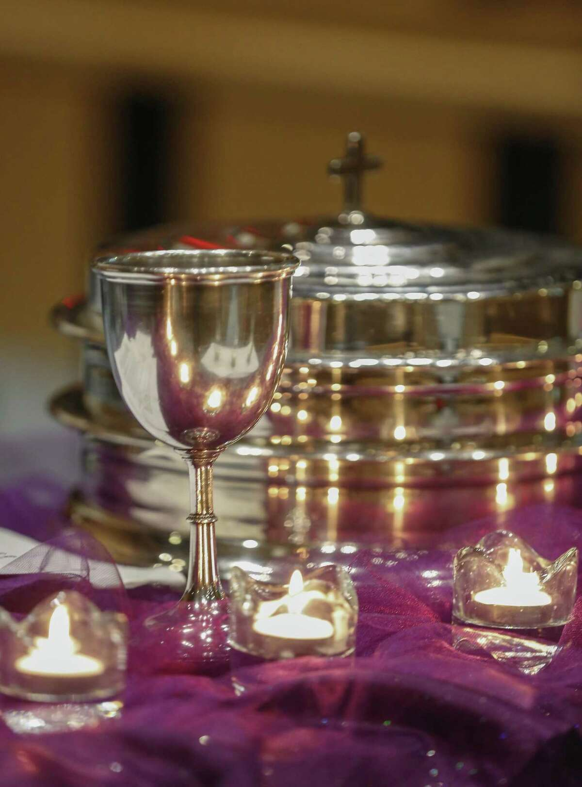 Communion vessels at St. Peter United Sunday, March 24, 2019, in Houston.