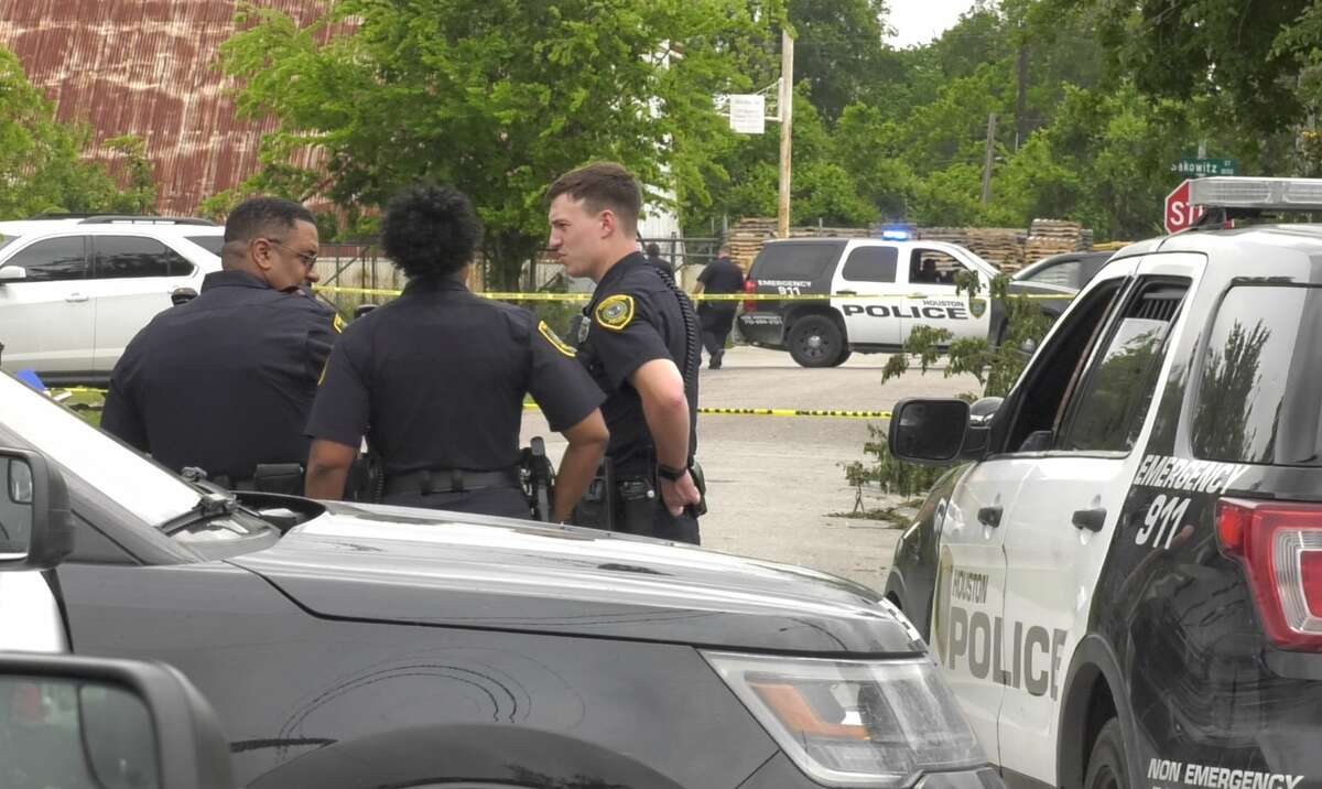 Houston police officers investigate after a person was found dead in the 5600 block of Hershe in east Houston on Wednesday, April 17, 2019.
