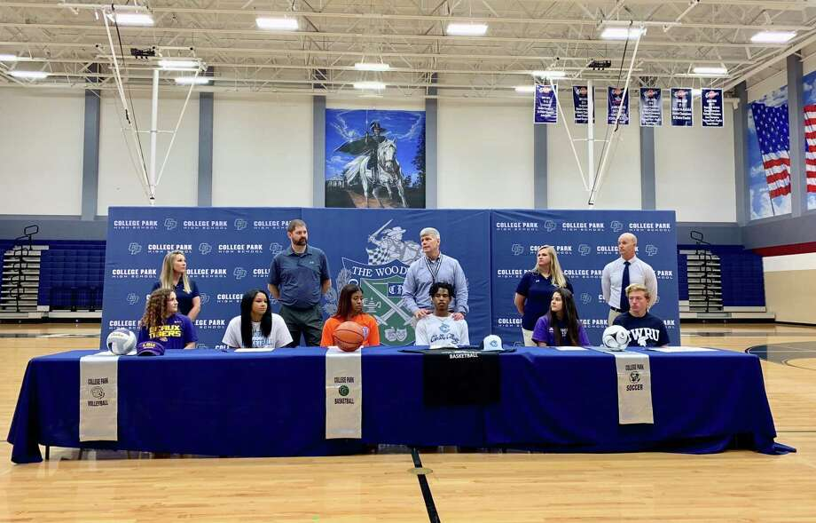 College Park High School held a signing day ceremony for six student-athletes Wednesday, April 17, 2019. Photo: Ted Bell / Courtesy