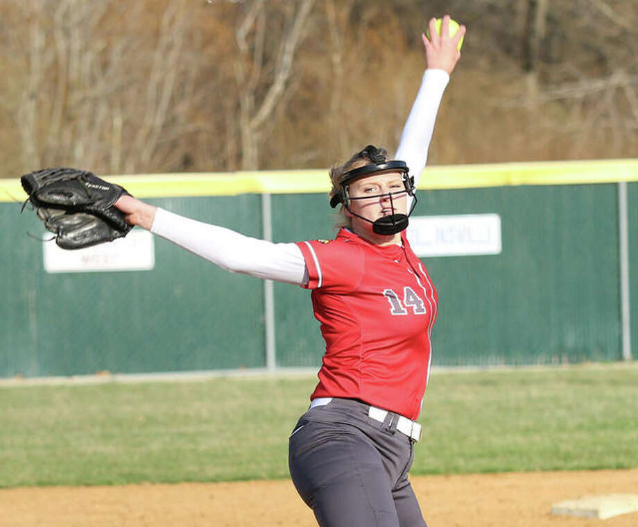 Alton's Alyson Haegele, shown pitching at home earlier this season, earned the win Tuesday in the Redbirds' Southwestern Conference victory at Belleville West. Photo: Greg Shashack / The Telegraph