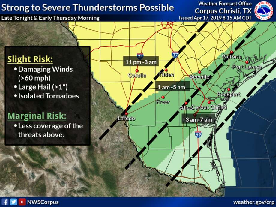 The NWS said thunderstorms are likely Wednesday night ahead of a cold front moving through the area. Photo: National Weather Service