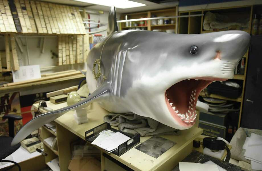 "A life-size 11-foot female great white shark model is part of the new ""Sharks!"" exhibit at the Bruce Museum in Greenwich. The show, opening April 20, will feature a live look at sharks developing in eggs, life-size models of sharks, and more than 20 species of shark jaws and teeth on display. Photo: Tyler Sizemore / Hearst Connecticut Media / Greenwich Time"