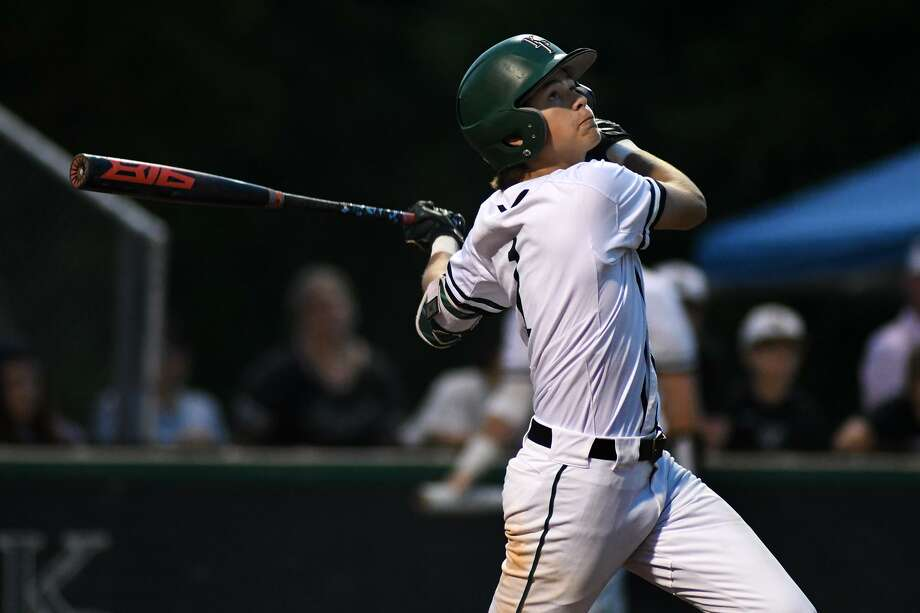 Kingwood Park shortstop Matt King drives a ball against New Caney in the bottom of the 5th inning of their District 20-5A matchup at KPHS on April 16, 2019. Photo: Jerry Baker, Houston Chronicle / Contributor / Houston Chronicle