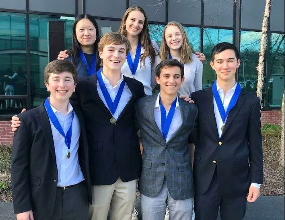 A team of Greenwich High School juniors will advance to the state National History Day competition with their project analyzing the triumphs and tragedies of representative democracy in the U.S. Photo: Contributed