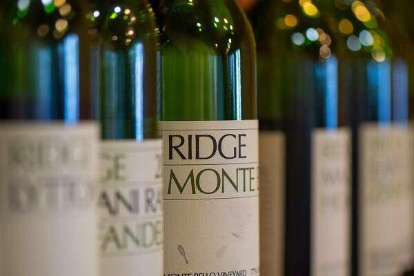Bottles at Ridge Vineyards in Cupertino, Calif.