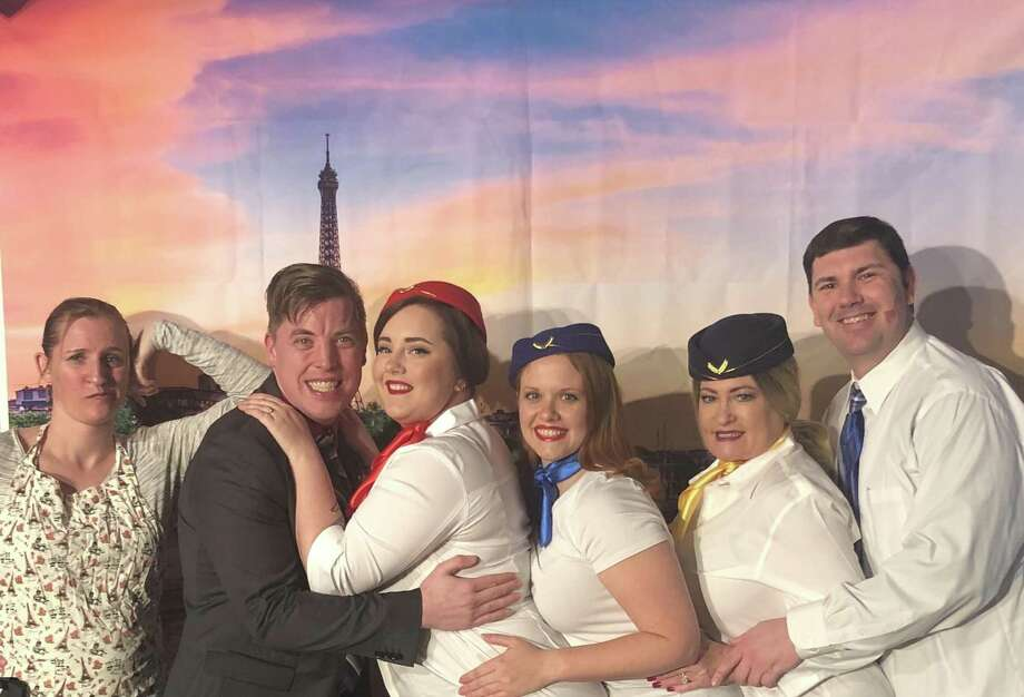 "The cast of ""Boeing, Boeing"" at Dinner Theatre at Franca's includes Jenny Grabowski, left, Hunter Mehrens, Jean Luchsinger, Brandee Silbey, Teri Miller and Matthew Schell."