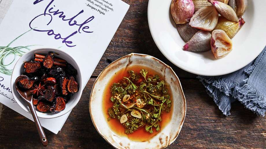 Shallots Roasted With Sugar and Vinegar, Balsamic-Poached Figs and Pickled Parsley. Photo: Photo By Stacy Zarin Goldberg For The Washington Post; Food Styling By Lisa Cherkasky For The Washington Post. / For The Washington Post