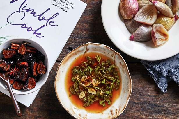 Shallots Roasted With Sugar and Vinegar, Balsamic-Poached Figs and Pickled Parsley.