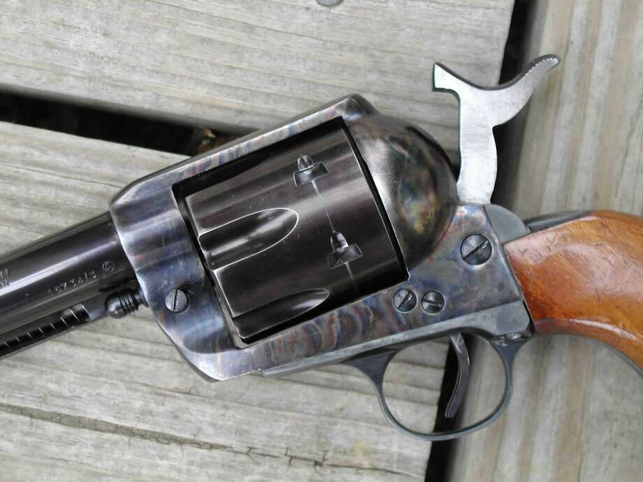 The cylinder of this single action revolver can be touched-up, but the color case hardened frame cannot. Photo: Larry J. LeBlanc