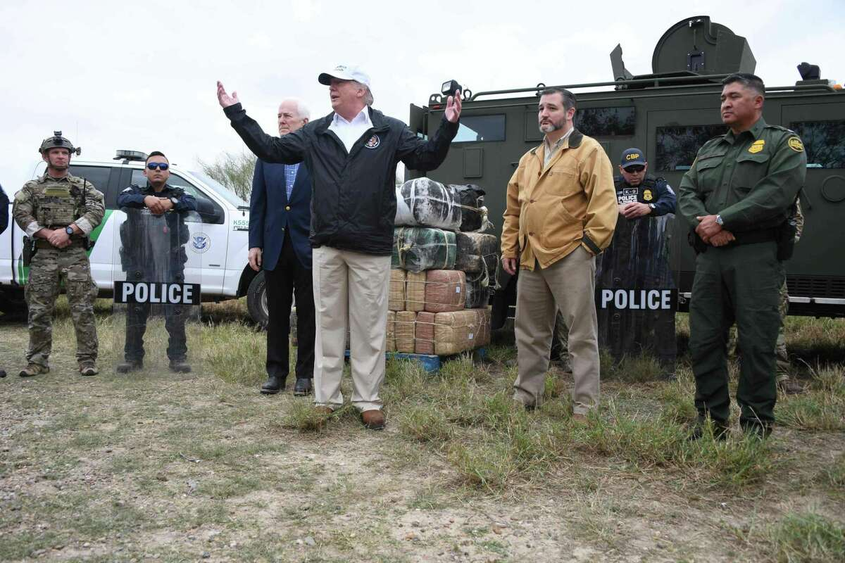 """(FILES) In this file photo taken on January 10, 2019 US President Donald Trump speaks after he received a briefing on border security next to Sen. John Cornyn(L) R-TX and Sen. Ted Cruz(2ndR) R-TX near the Rio Grande in McAllen, Texas. - Acting Pentagon chief Patrick Shanahan has authorized $1 billion to build part of the wall sought by Donald Trump along the US-Mexico border, the first funds designated for the project under the president's emergency declaration. The Department of Homeland Security asked the Pentagon to build 57 miles (92 kilometers) of 18-foot (5.5-meter) fencing, construct and improve roads, and install lighting to support Trump's emergency declaration. Shanahan """"authorized the commander of the US Army Corps of Engineers to begin planning and executing up to $1 billion in support to the Department of Homeland Security and Customs and Border Patrol,"""" a Pentagon statement issued late March 25, 2019 read. (Photo by Jim WATSON / AFP)JIM WATSON/AFP/Getty Images"""