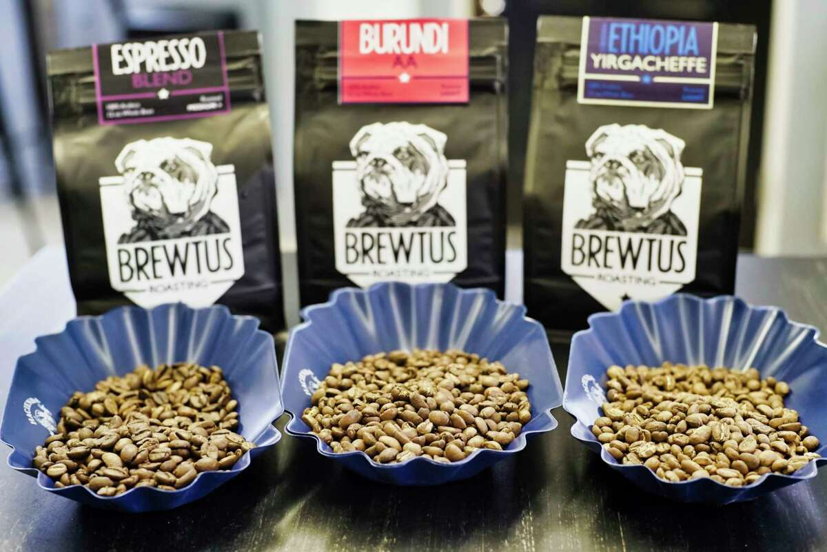 From left to right, espresso blend coffee beans, Burundi coffee beans, and Ethiopia Yirgacheffe coffee beans, at Brewtus Roasting on Monday, April 15, 2019, in Delmar, N.Y. (Paul Buckowski/Times Union)