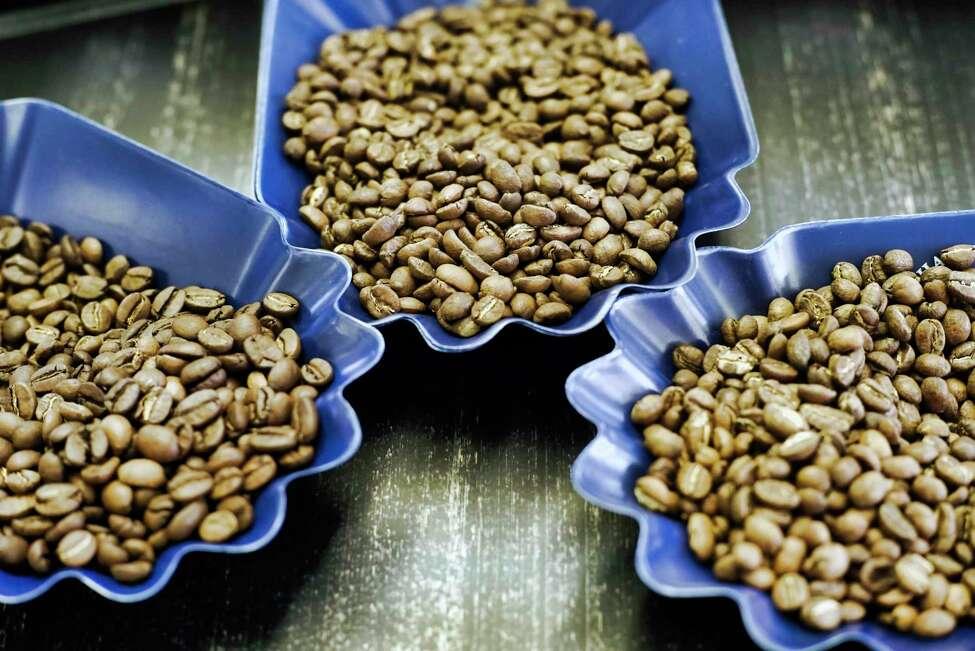 From left to right, espresso blend coffee beans, Burundi coffee beans, and Ethiopia Yirgacheffe coffee beans, at Brewtus Roasting on Monday, April 15, 2019, in Delmar, N.Y. (Paul Buckowski/Times Union)