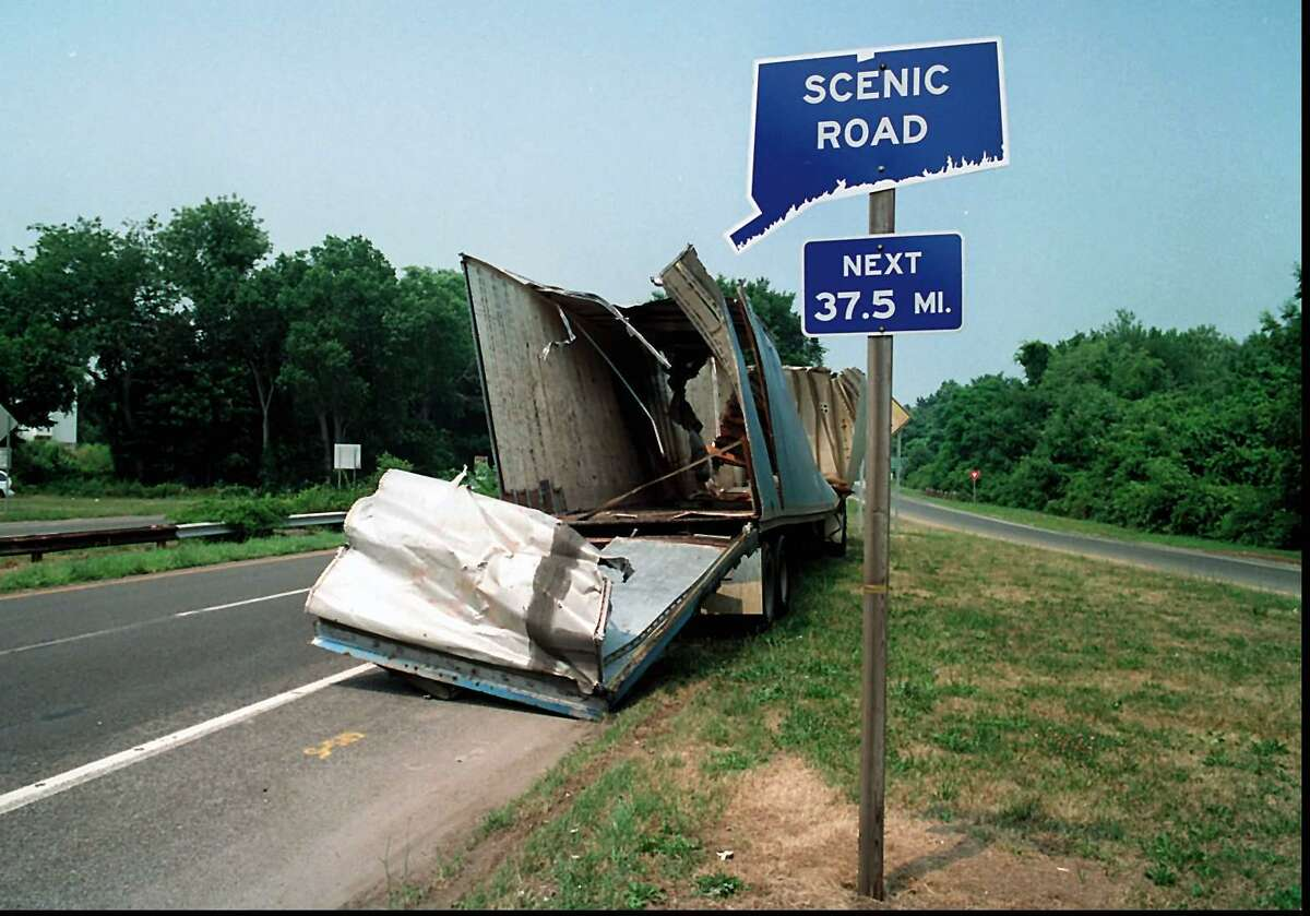 In a file photo, a truck sits on side of the Merritt Parkway. Trucks are banned from the parkways.