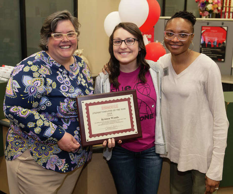 Kristen Woods (center), a SIUE junior majoring in corporate and organizational communications, was named the 2019 Student Employee of the Year. Congratulating her are Denise Cobb, Ph.D., provost and vice chancellor for academic affairs (left) and Vivian Rodgers, office support associate for the Kimmel Student Involvement Center. Photo: For The Intelligencer