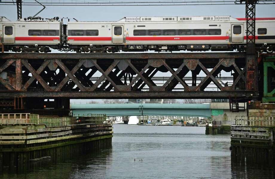 The Metro-North Railroad Walk Bridge on  March 1 in Norwalk. Photo: Erik Trautmann / Hearst Connecticut Media / Norwalk Hour
