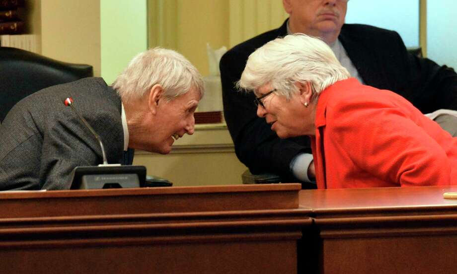 Maryland House Speaker Michael Busch and Chairwoman of the House Appropriations Committee Maggie McIntosh talk during a hearing in November 2018. Photo: Photo For The Washington Post By Mark Gail. / Mark Gail