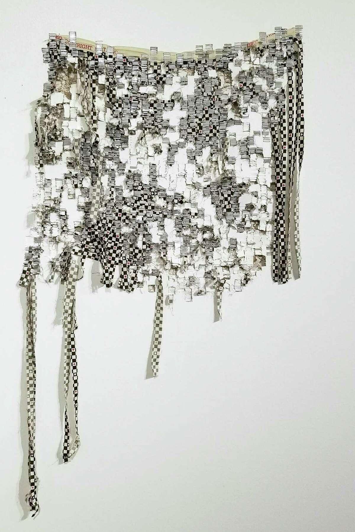 Elana Herzog, Poltergeist, 2019. Metal staples, pencil, textile in drywall, silicone caulk. (Airport Gallery)