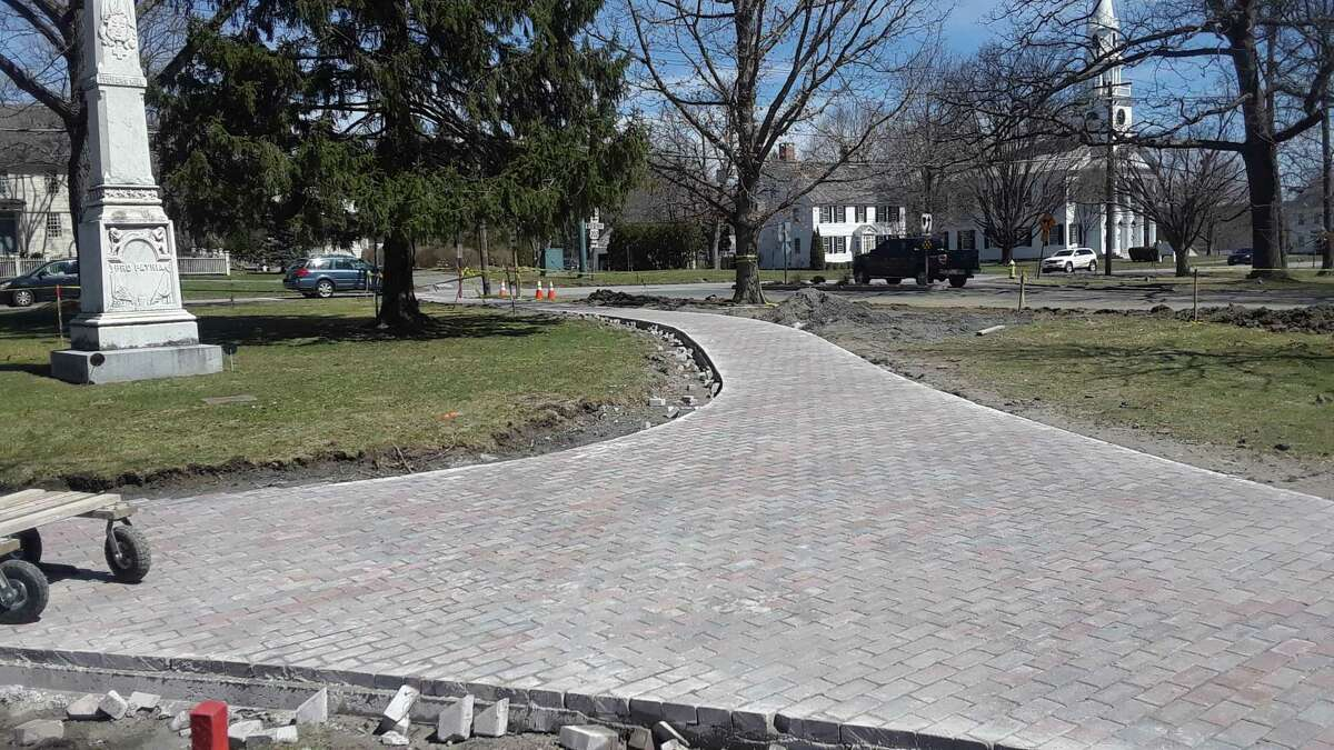 New walkways and stonework are completed on the Litchfield Green, in preparation for the town's 300th anniversary celebrations earlier this year. The Borough of Litchfield and the Litchfield Green Advisory Committee, in collaboration with Heritage Landscapes, LLC, are holding a second public presentation and discussion of the historic Litchfield Green Comprehensive Revitalization Plan at the Litchfield Firehouse, from 6:30-8 p.m. on Nov. 6.