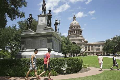 A monument to Confederate Civil War veterans is located at the south entrance to the Capitol in Austin.