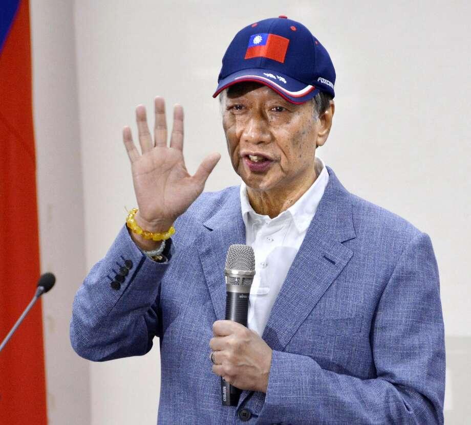 Terry Gou, chairman of iPhone assembler Foxconn, announces his presidential bid in Taipei. Photo: Eiichi Shiozawa / Kyodo News