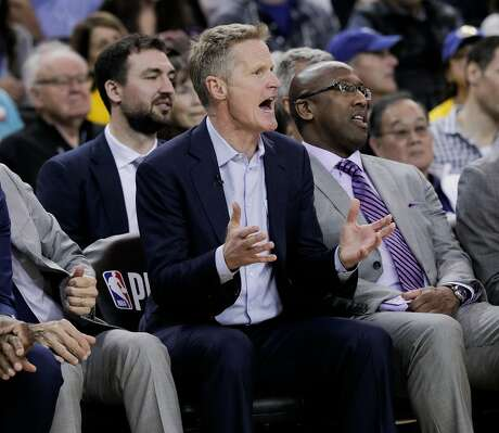 Golden State Warriors head coach Steve Kerr reacts in the third quarter during game 1 of the Western Conference Playoffs between the Golden State Warriors and the Los Angeles Clippers at Oracle Arena on Saturday, April 13, 2019 in Oakland, Calif.
