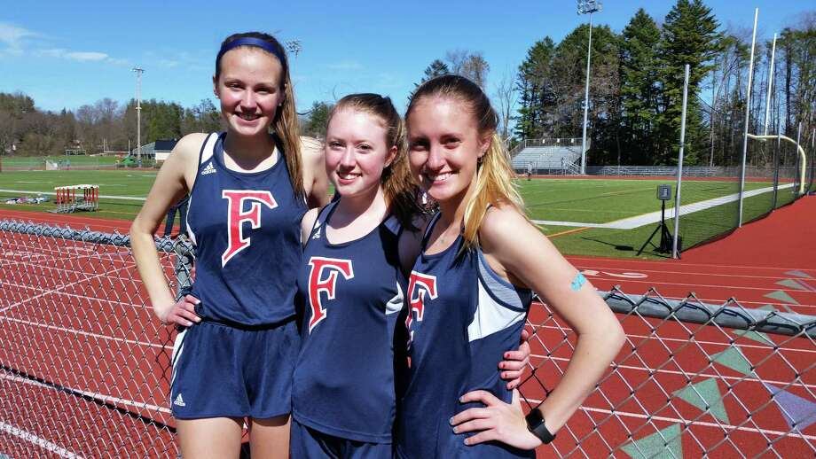 Foran's girls track captains, from left, Tessa Malesky, Maggie Cummings and Emma Cote. Photo: Dan Nowak / Hearst Connecticut Media /