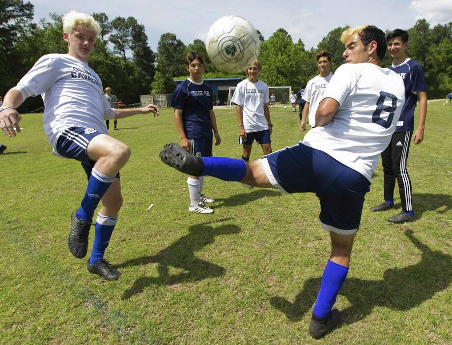 College Park players joke around while working their footwork during soccer practice at College Park High School, Wednesday, April 17, 2019, in The Woodlands. Photo: Jason Fochtman, Houston Chronicle / Staff Photographer / © 2019 Houston Chronicle