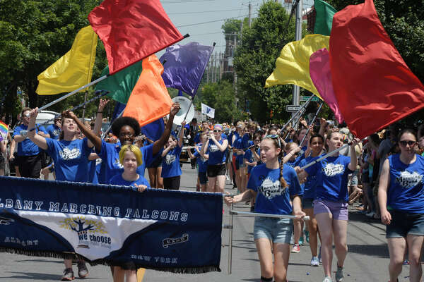 Members of the Albany Marching Falcons perform as they take part in the Albany Pride Parade on Sunday, June 11, 2017, in Albany, N.Y. (Paul Buckowski / Times Union)