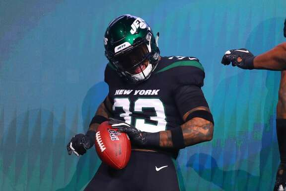 NEW YORK, NY - APRIL 04:  New York Jets safety Jamal Adams (33) models the New York Jets Stealth Black Uniform at the New York Jets New Uniform Unveiling on April 4, 2019 at Gotham Hall in New York, NY.  (Photo by Rich Graessle/Icon Sportswire via Getty Images)