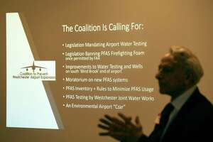 Geoge Klein speaks on behalf of the Coalition to Prevent Westchester Airport Expansion about an emerging threat of water contamination at the Westchester County Airport during a presentation at the BelleFair Community Room in Rye Brook, N.Y. Wednesday, April 17, 2019. A class of contaminants known as PFAS pose a risk to pollute the Kensico Reservoir, which provides drinking water for a large portion of Westchester and New York City residents.