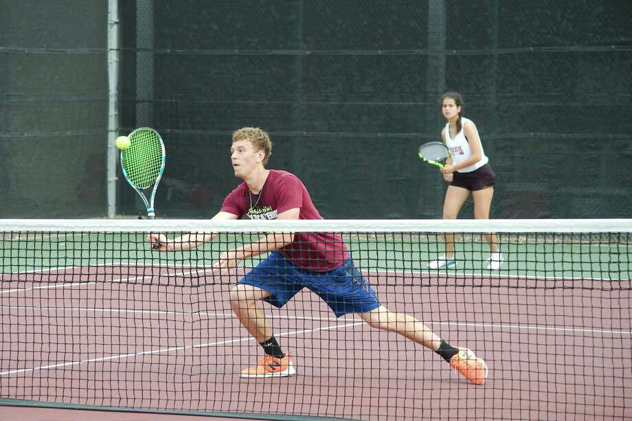 Clear Creek's Griffin Baillargeon and Alejandra Lopez compete in the mixed doubles bracket Wednesday at the Region III-6A tournament at Deer Park High School. Photo: Kirk Sides / Staff Photographer / © 2019 Kirk Sides / Houston Chronicle