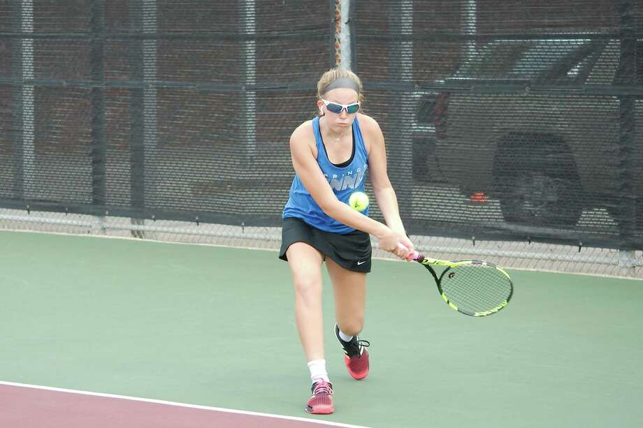 Clear Springs' Allison Schwartz prepares to hit a backhand in the Region III-6A tennis tournament Wednesday at Deer Park High School. Photo: Kirk Sides / Staff Photographer / © 2019 Kirk Sides / Houston Chronicle