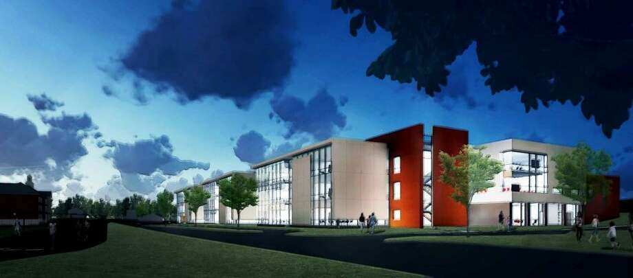 The Middletown Board of Education is seeking members of the community for a committee tasked with the naming of the new Woodrow Wilson/Keigwin middle school. Shown here is an architect's rendering of the entrance to the new facility. Photo: Courtesy TSKP Studio