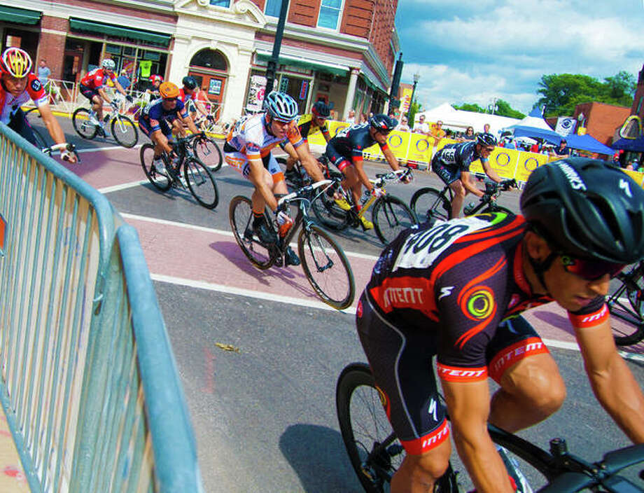 Cyclists compete during a previous Criterium race in Edwardsville. Photo: Intelligencer File Photo