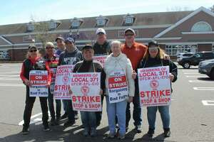 Westport Stop & Shop employees were on strike outside the Post Road store on April 17.