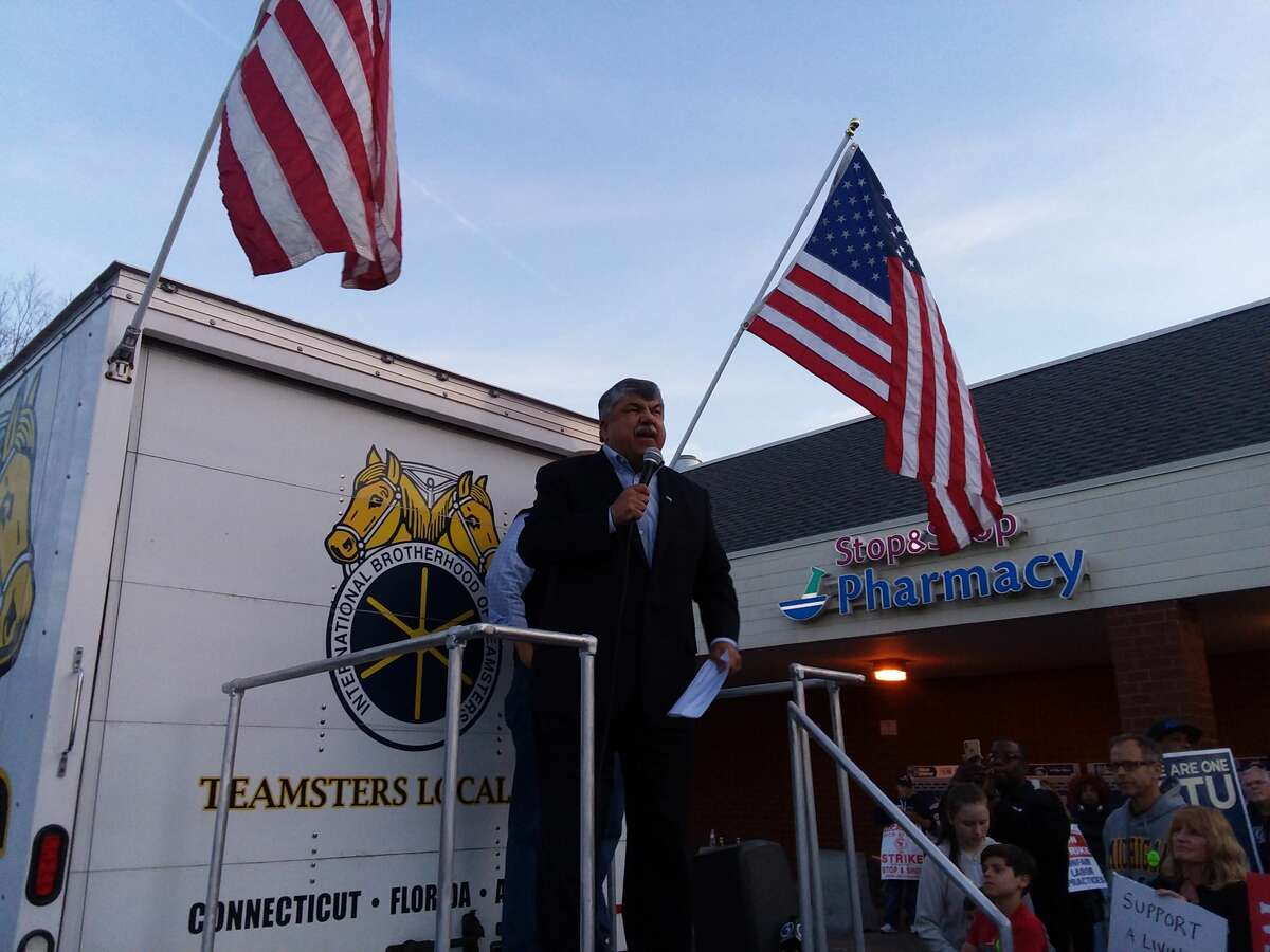 National AFL-CIO President Richard Trumka stands with striking workers at the Amity Stop & Shop in New Haven.