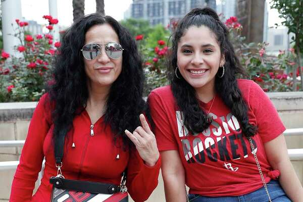 Houston Rockets fans get ready for the start of game 2 of the NBA playoffs at the Toyota Center, Wednesday, April 17, 2019, in Houston.