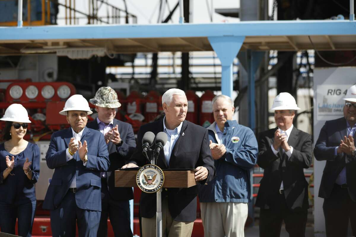 Vice President Mike Pence speaks at a Diamondback oil and gas operation April 17, 2019, in Midland County. Pence toured a Latshaw Drilling Rig and made statements about United States trade negotiations. James Durbin / Reporter-Telegram