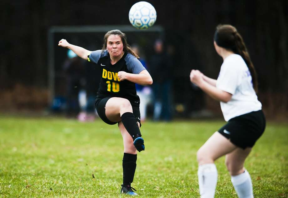 Dow's Elizabeth Green takes a shot on goal during a game against Bay City Central on Wednesday, April 17, 2019 at H. H. Dow High School. (Katy Kildee/kkildee@mdn.net) Photo: (Katy Kildee/kkildee@mdn.net)