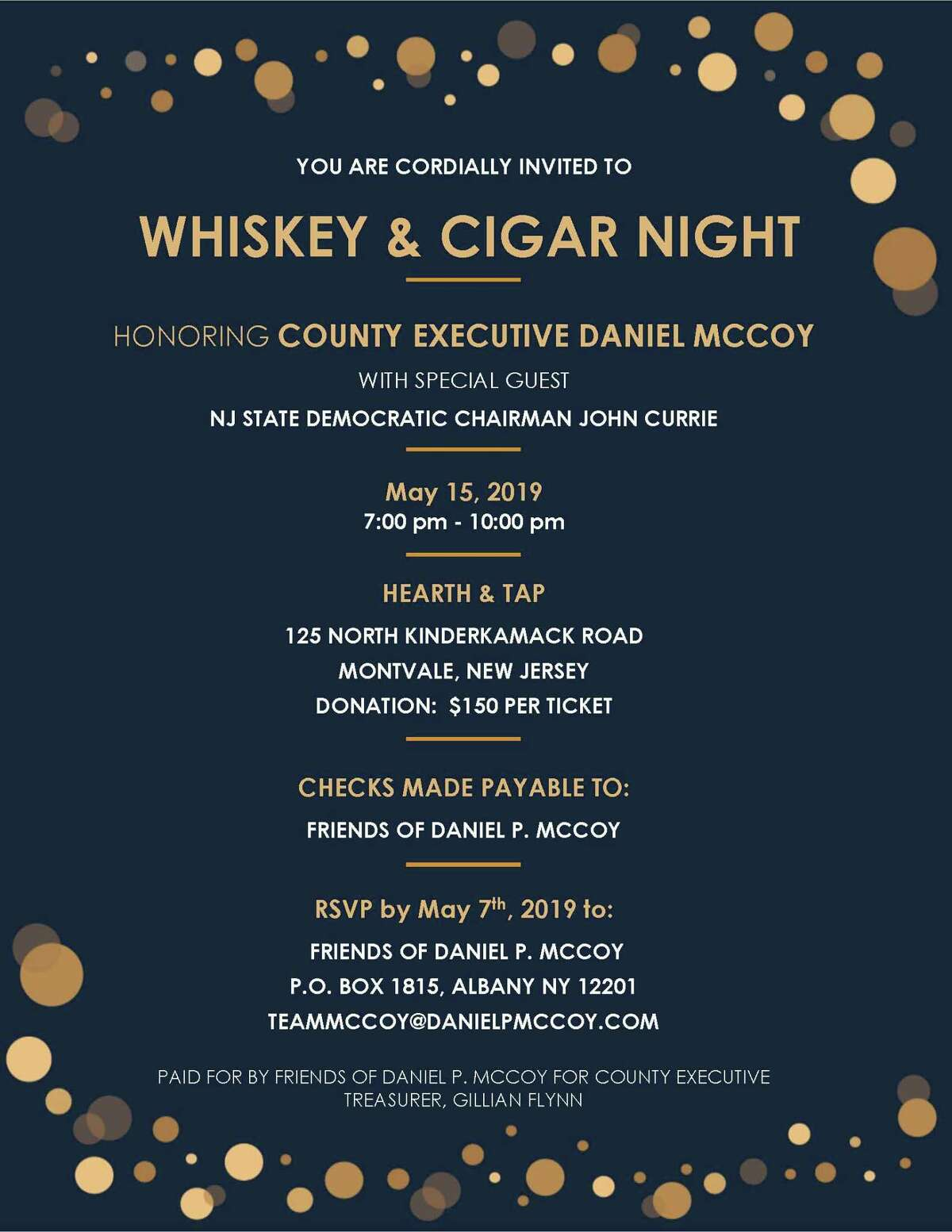 Here is a copy of an invitation Albany County Executive Daniel McCoy shared with a handful of supporters over email.