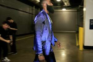 Houston Rockets guard James Harden (13) walks into the Toyota Center before Game 2 of the  NBA game series between Houston Rockets and Utah Jazz on Wednesday, April 17, 2019 in Houston. Rockets lead the series 1-0.