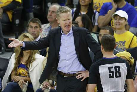 Golden State Warriors head coach Steve Kerr argues a call with referee Josh Tiven in the third quarter during game 2 of the Western Conference Playoffs between the Golden State Warriors and the Los Angeles Clippers at Oracle Arena on Monday, April 15, 2019 in Oakland, Calif.