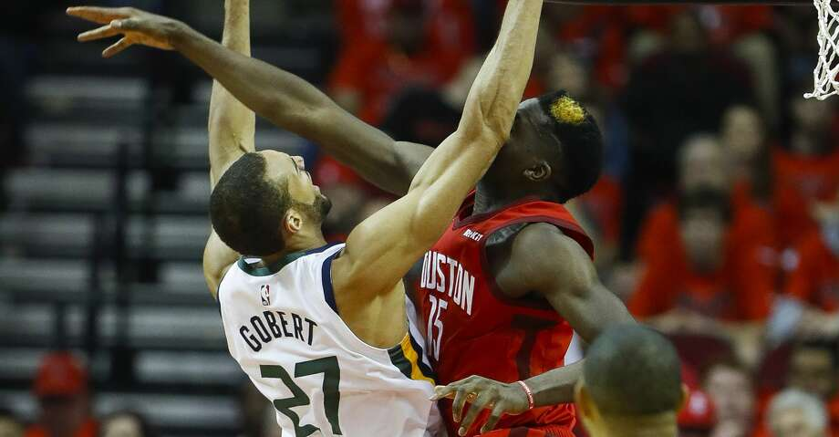 PHOTOS: Rockets game-by-game Houston Rockets center Clint Capela (15) tries to block a shot by Utah Jazz center Rudy Gobert (27) during the second half of the first round of the NBA playoffs at Toyota Center, Sunday, April 14, 2019, in Houston. Browse through the photos to see how the Rockets fared in each game this season. Photo: Karen Warren/Staff Photographer