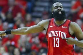 Houston Rockets guard James Harden (13) reacts to a shot during the first half of the first round of the NBA playoffs at Toyota Center, Sunday, April 14, 2019, in Houston.