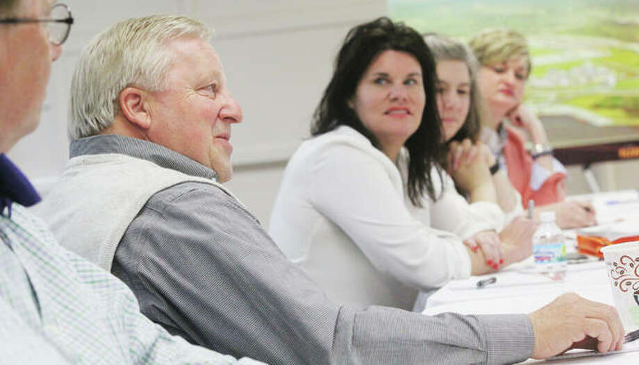 John Keller, president of the RiverBend Growth Association, talks during a brainstorming session by area officials Wednesday at Americas Central Port in Granite City. The meeting, sponsored by Madison County Community Development, focused on finding shared goals that can be worked on in a county-wide effort.