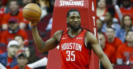 Houston Rockets forward Kenneth Faried (35) brings the ball down court during the second half of the first round of the NBA playoffs at Toyota Center, Sunday, April 14, 2019, in Houston.