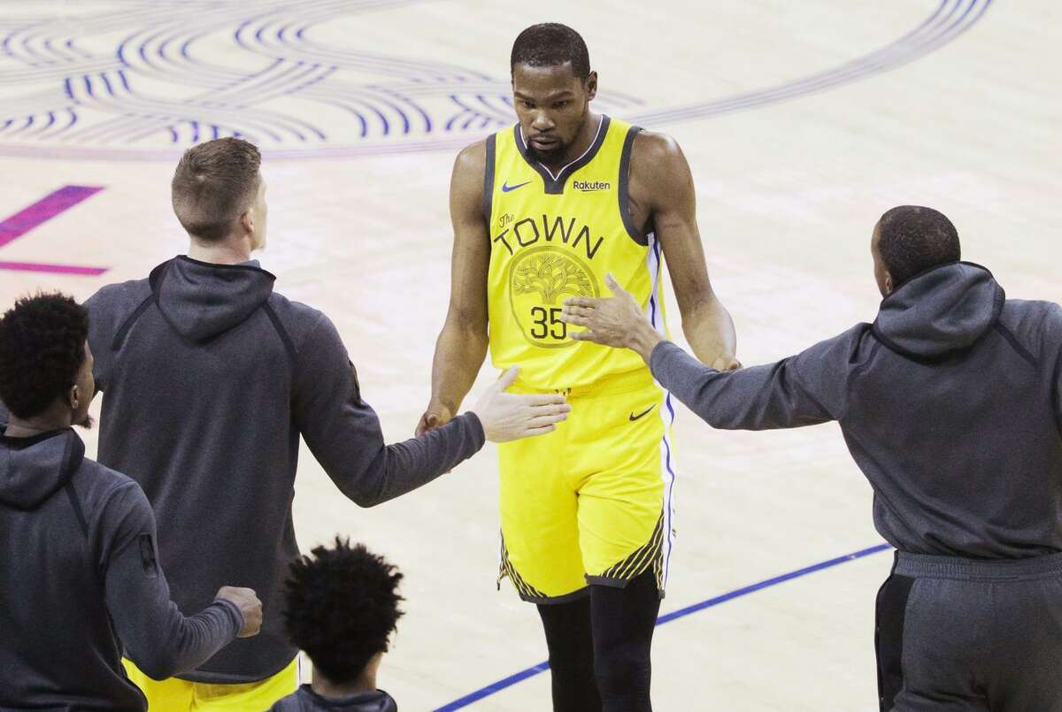 """Responding to Coach Steve Kerr's comments suggesting more aggression, Kevin Durant says, """"I'm not going to go out there and just shoot 20 or 30 shots. I don't play like that."""""""