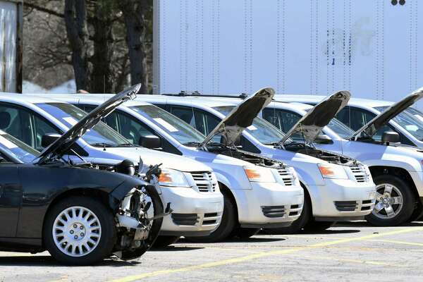 Cars are lined up for the surplus vehicle auctions on Wednesday, April 17, 2019 at the State Office Building Campus in Albany, NY. (Phoebe Sheehan/Times Union)