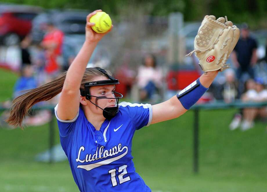 Fairfield Ludlowe's Kylee Holderied (12) pitches during softball action against Fairfield Warde in Fairfield, Conn., on Friday May 11, 2018. Ludlowe received The Walker Softball Championship Cup after beating Warde 5-4. Photo: Christian Abraham / Hearst Connecticut Media / Connecticut Post