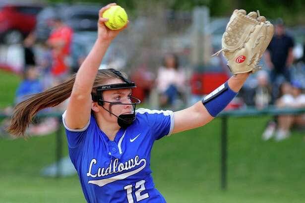 Fairfield Ludlowe's Kylee Holderied (12) pitches during softball action against Fairfield Warde in Fairfield, Conn., on Friday May 11, 2018. Ludlowe received The Walker Softball Championship Cup after beating Warde 5-4.
